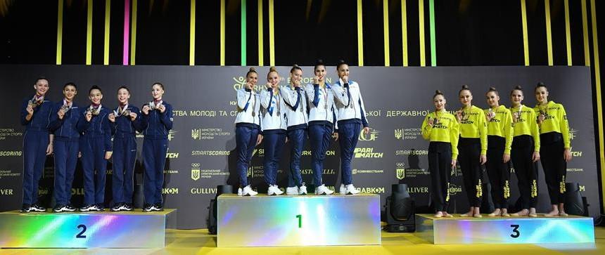 The senior group competition podium - from left Azerbaijan, Israel and Ukraine ©Simone Ferraro