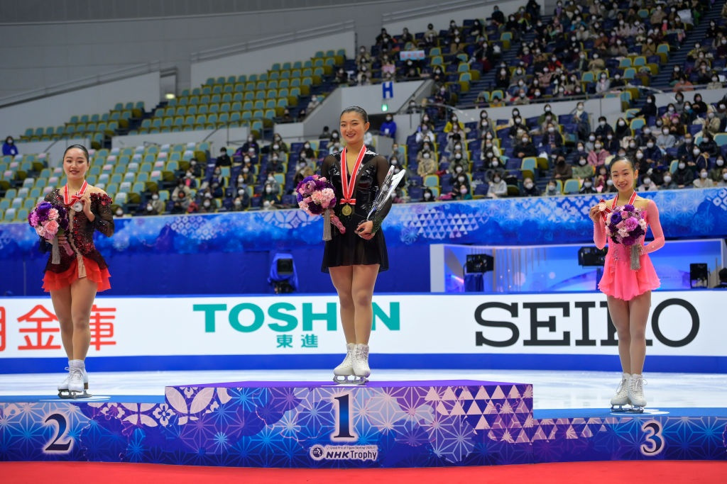 Kaori Sakamoto stands at the top of the podium after winning her first Grand Prix of Figure Skating title ©ISU