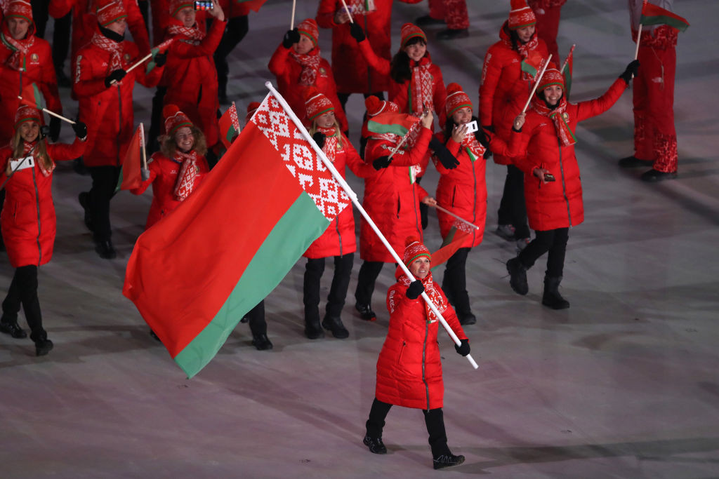 The Belarus flag could be banned from Tokyo 2020 if the IOC takes action against the NOCRB ©Getty Images