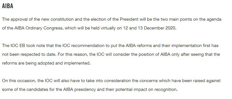 The IOC mentioned concerns raised against AIBA Presidential candidates in a statement last week ©IOC