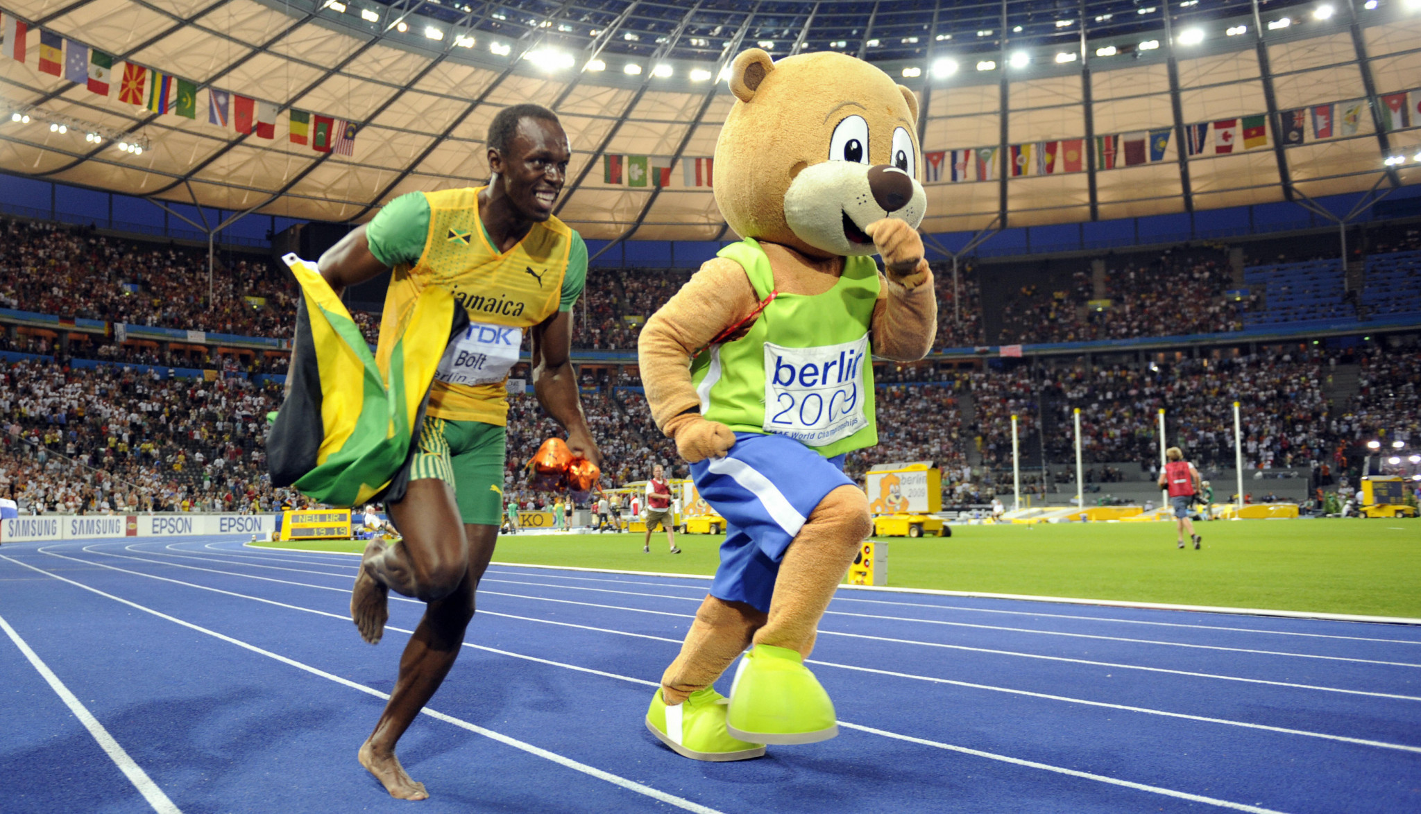Frank Hensel was in charge of the brilliantly successful 2009 World Championships in Berlin where Usain Bolt, left, set world records in the 100m and 200m ©Getty Images