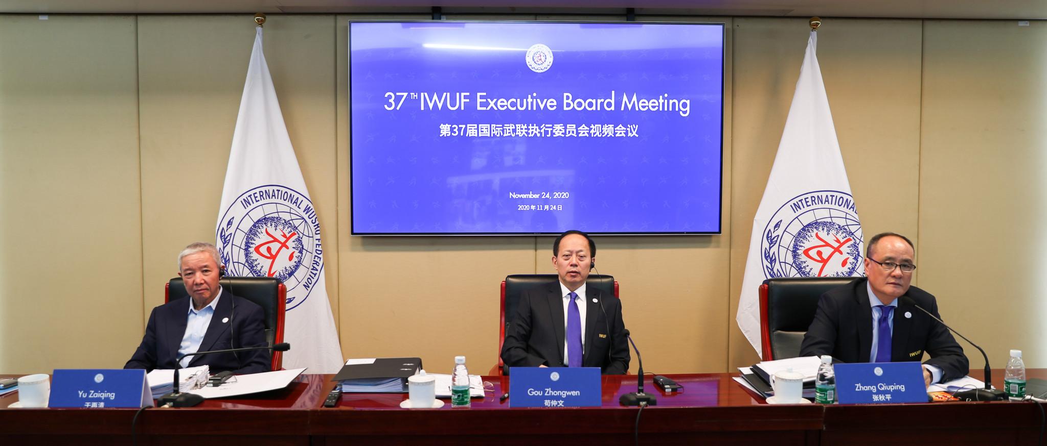 "IWUF President Gou Zhongwen urged the Executive Board to make ""great efforts"" for wushu's Youth Olympic Games debut ©IWUF"