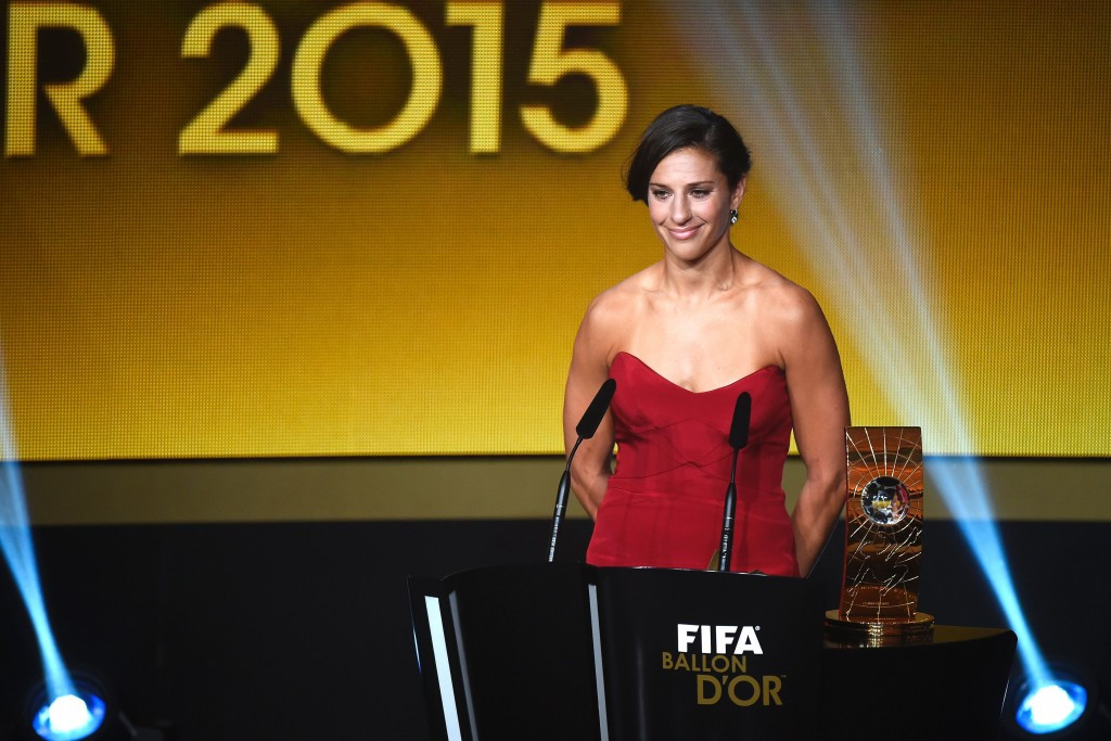 United States midfielder Carli Lloyd won the Women's World Player of the Year