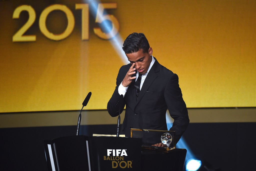 Goianésia's Wendell Lira was visibly moved when he was named as the winner of the FIFA Puskás Award
