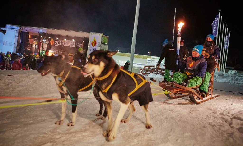 The Torch was carried on a sled by six different people during the event