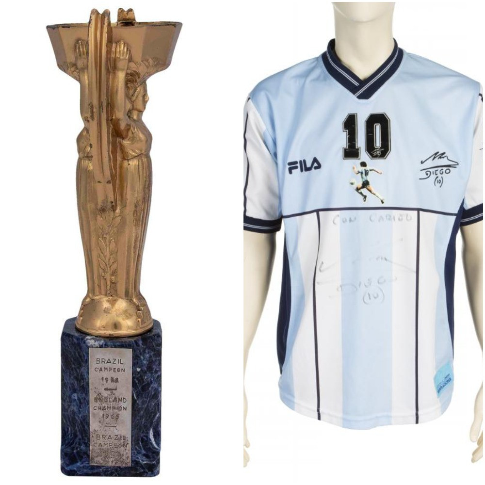 Maradona shirt and Pelé trophy put up for auction