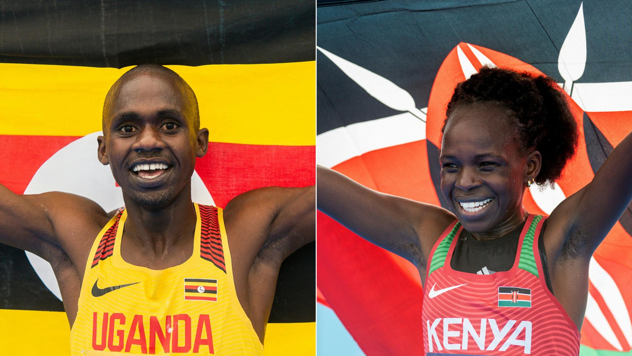 Uganda's Jacob Kiplimo and Kenya's Peres Jepchirchir, right, celebrate winning the IAAF World Half Marathon Championships in Gdynia ©Getty Images
