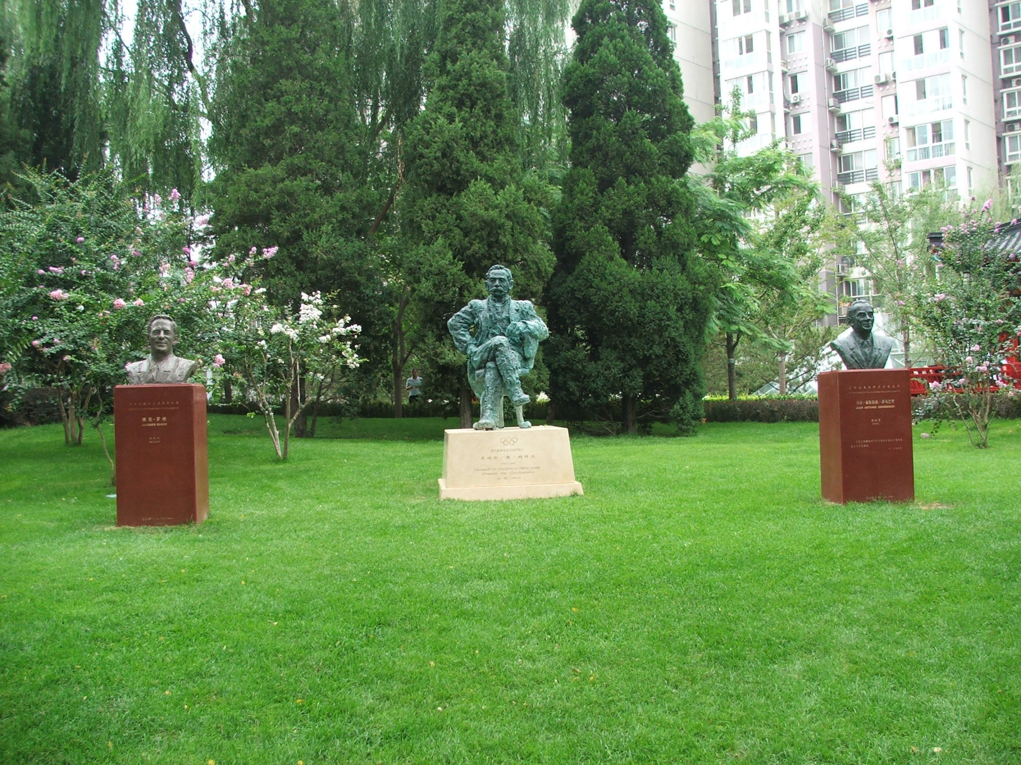 Statues of three former IOC Presidents in Beijing - from left Jacques Rogge, Pierre de Coubertin and Juan Antonio Samaranch ©Philip Barker