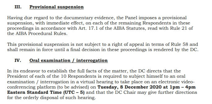 The AIBA Disciplinary Commission has issued its decision and interim rulings document in the case ©ITG