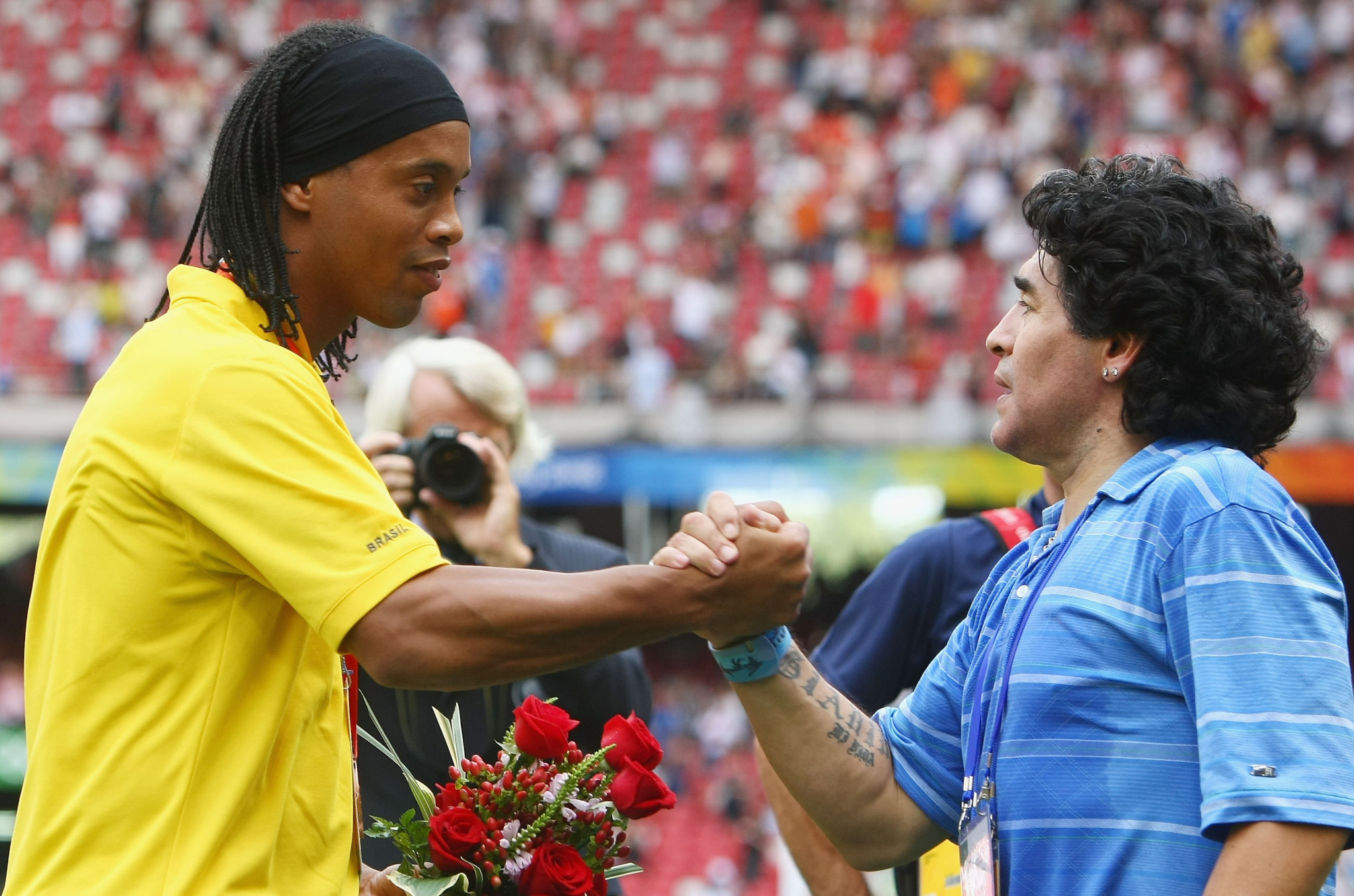 Ronaldinho was an overage player at Beijing 2008 as Diego Maradona cheered Argentina to victory ©Getty Images