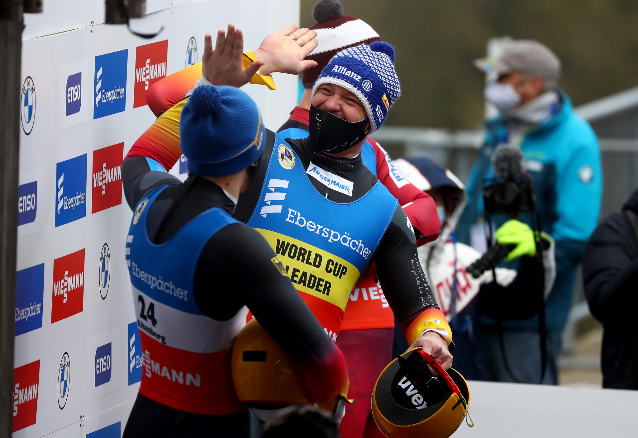 Germany's Felix Loch and Max Langenhan finished first and second at the FIL Luge World Cup in Altenberg ©Getty Images