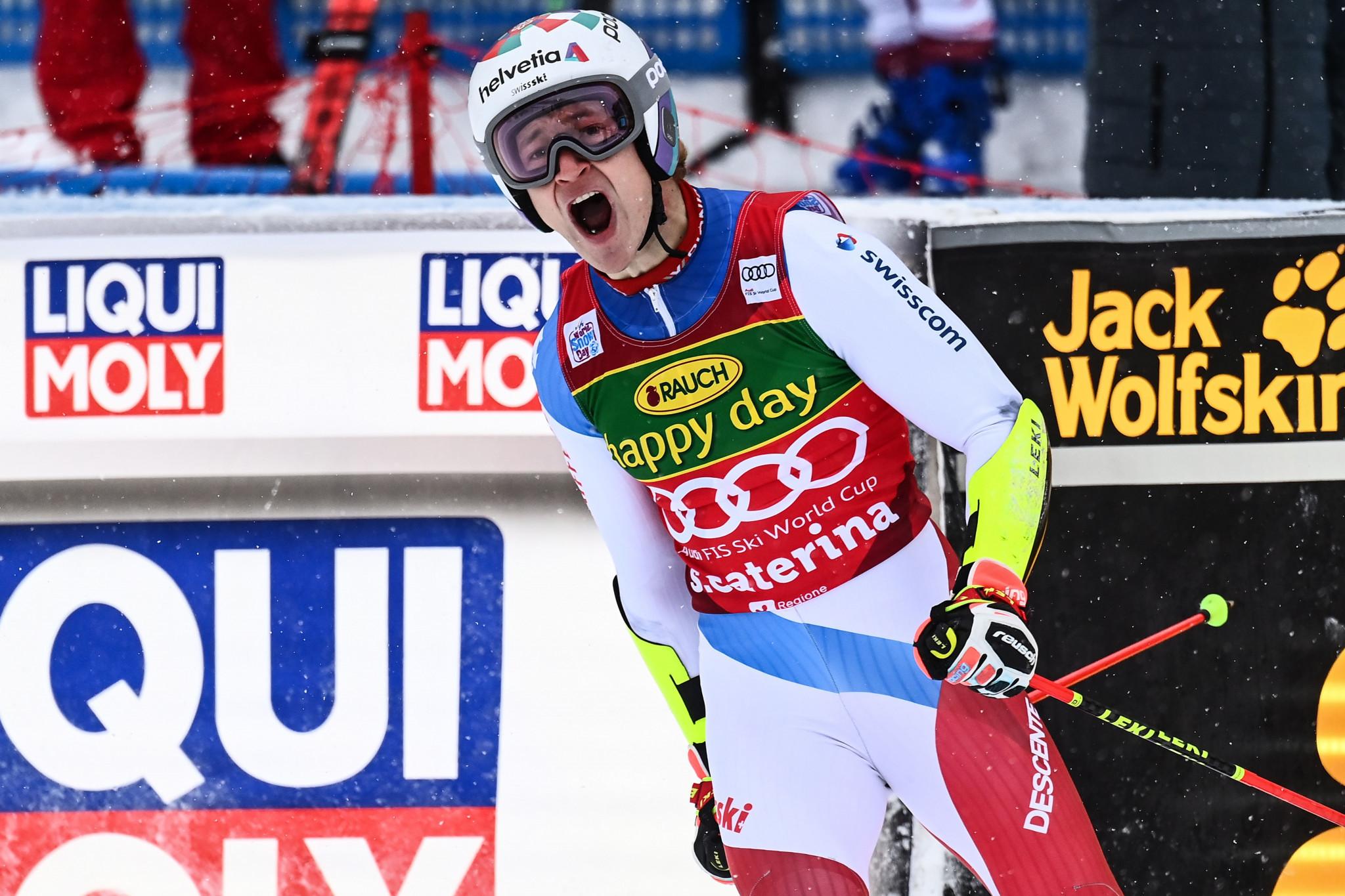 Odermatt wins first giant slalom World Cup win in delayed race in Santa Caterina