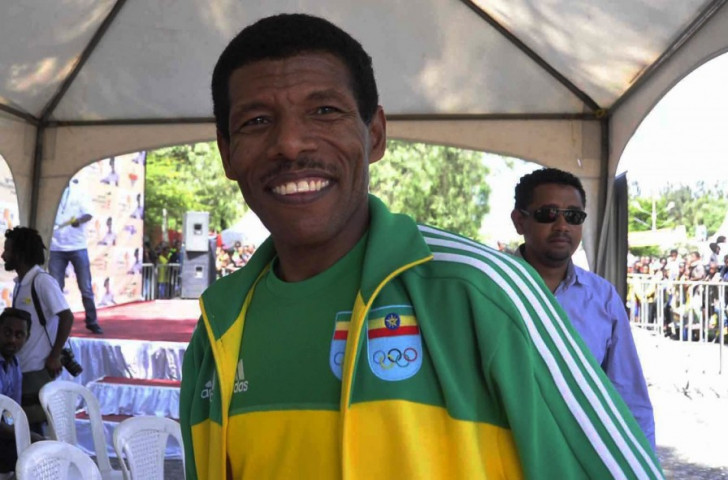 Haile Gebrselassie, who officially retired on Sunday (May 10), shows off his characteristic grin while attending a marathon in Ethiopia in 2013 ©Getty Images