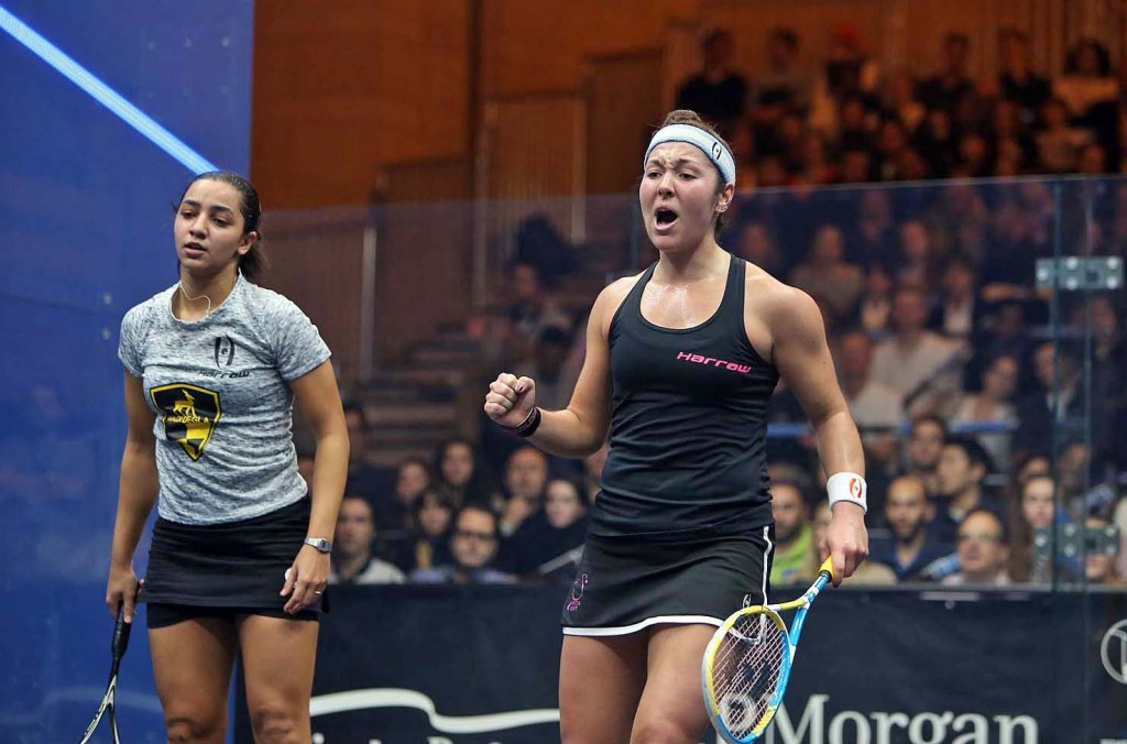 The United States' Amanda Sobhy eliminated last year's winner Raneem El Welily of Egypt in the second round of the J.P. Morgan Tournament of Champions ©squashpics.com