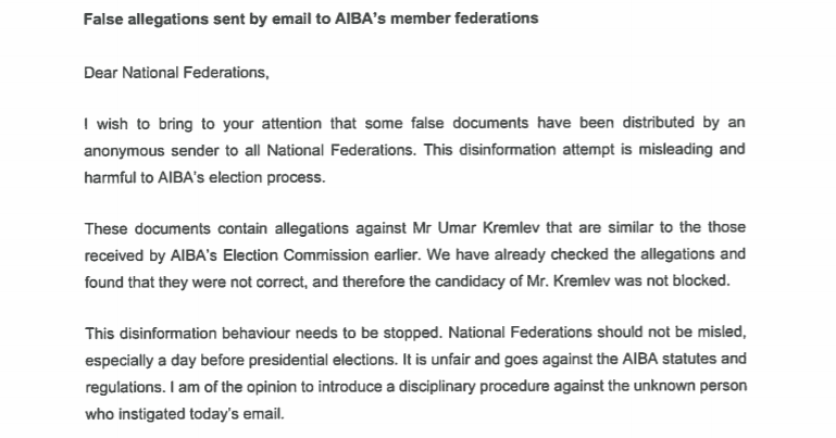 AIBA has called for a halt in
