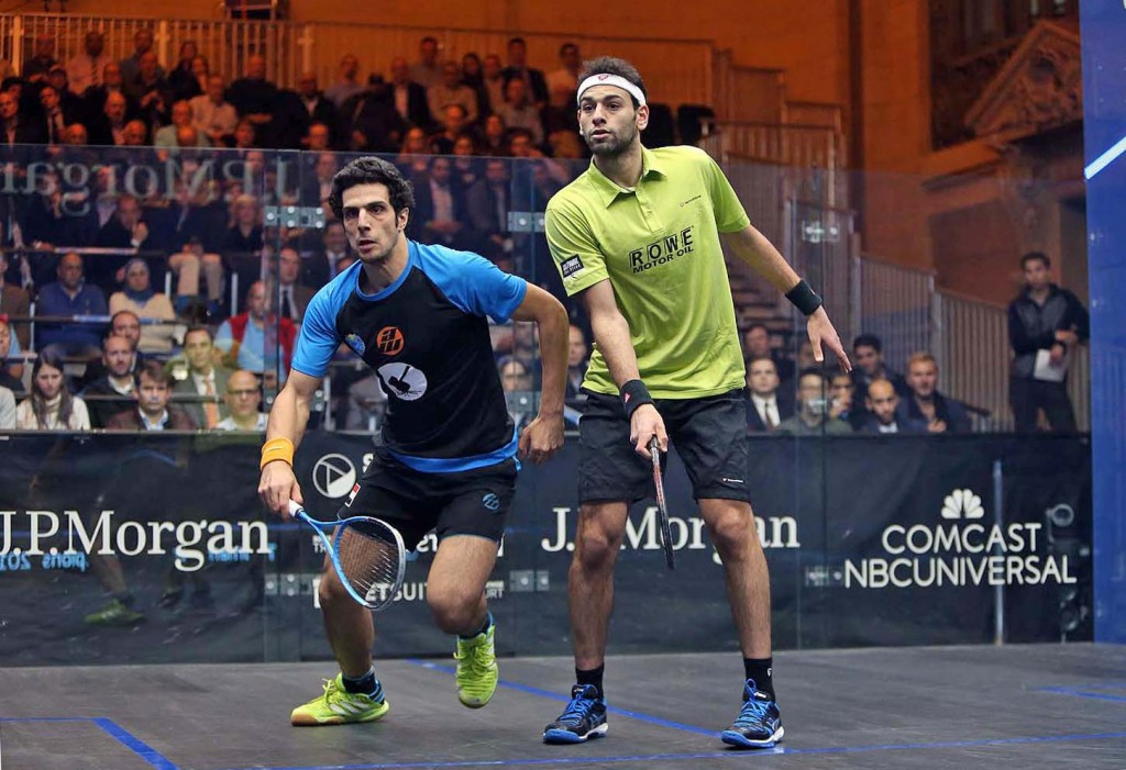 Egyptian world number one Mohamed Elshorbagy will take on Mathieu Castagnet in the last four