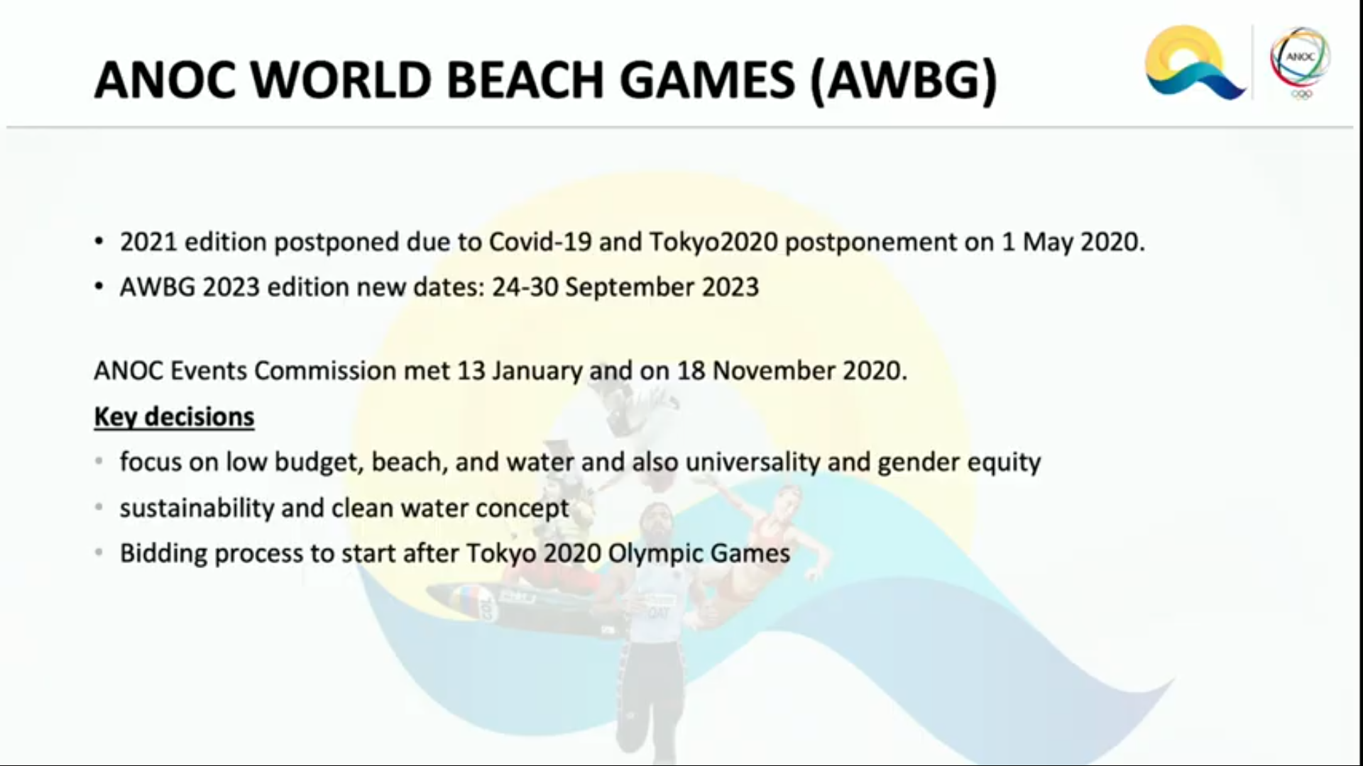 ANOC has set dates for the 2023 ANOC World Beach Games ©ANOC