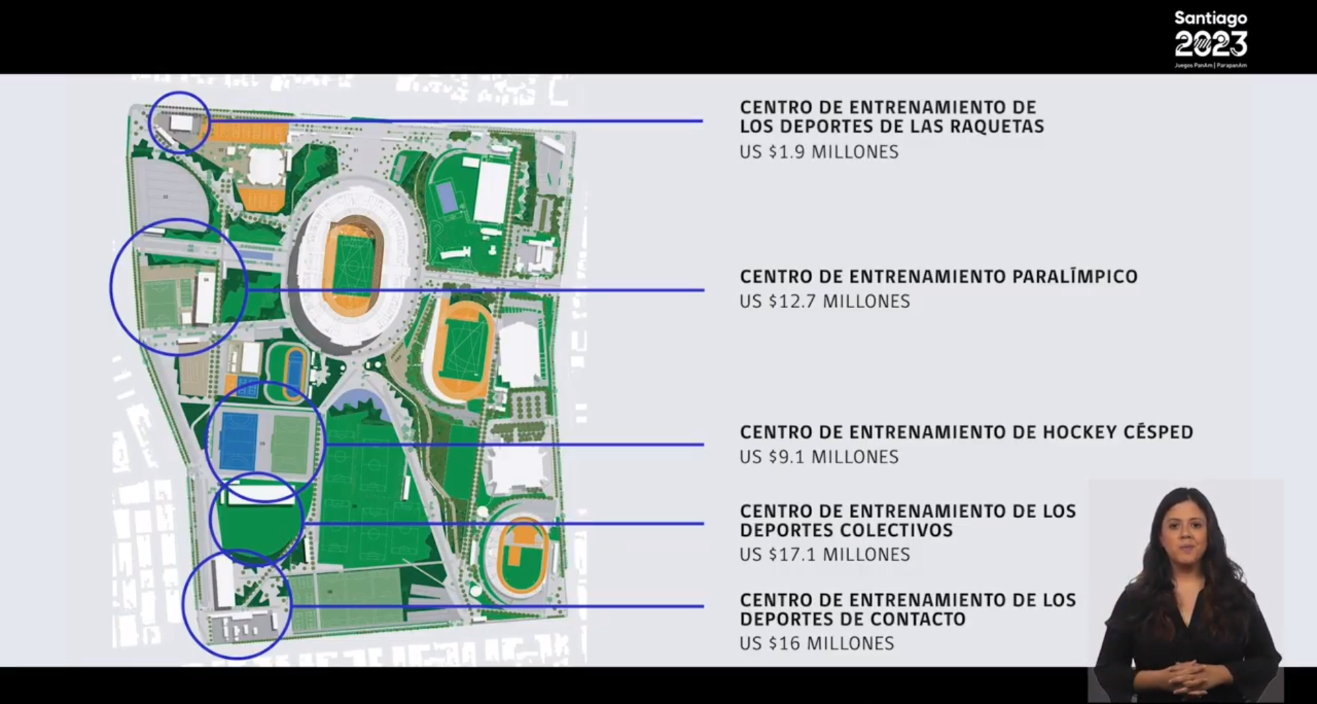 Santiago 2023 outlined new venues and upgrades which will be completed for the Games ©Santiago 2023