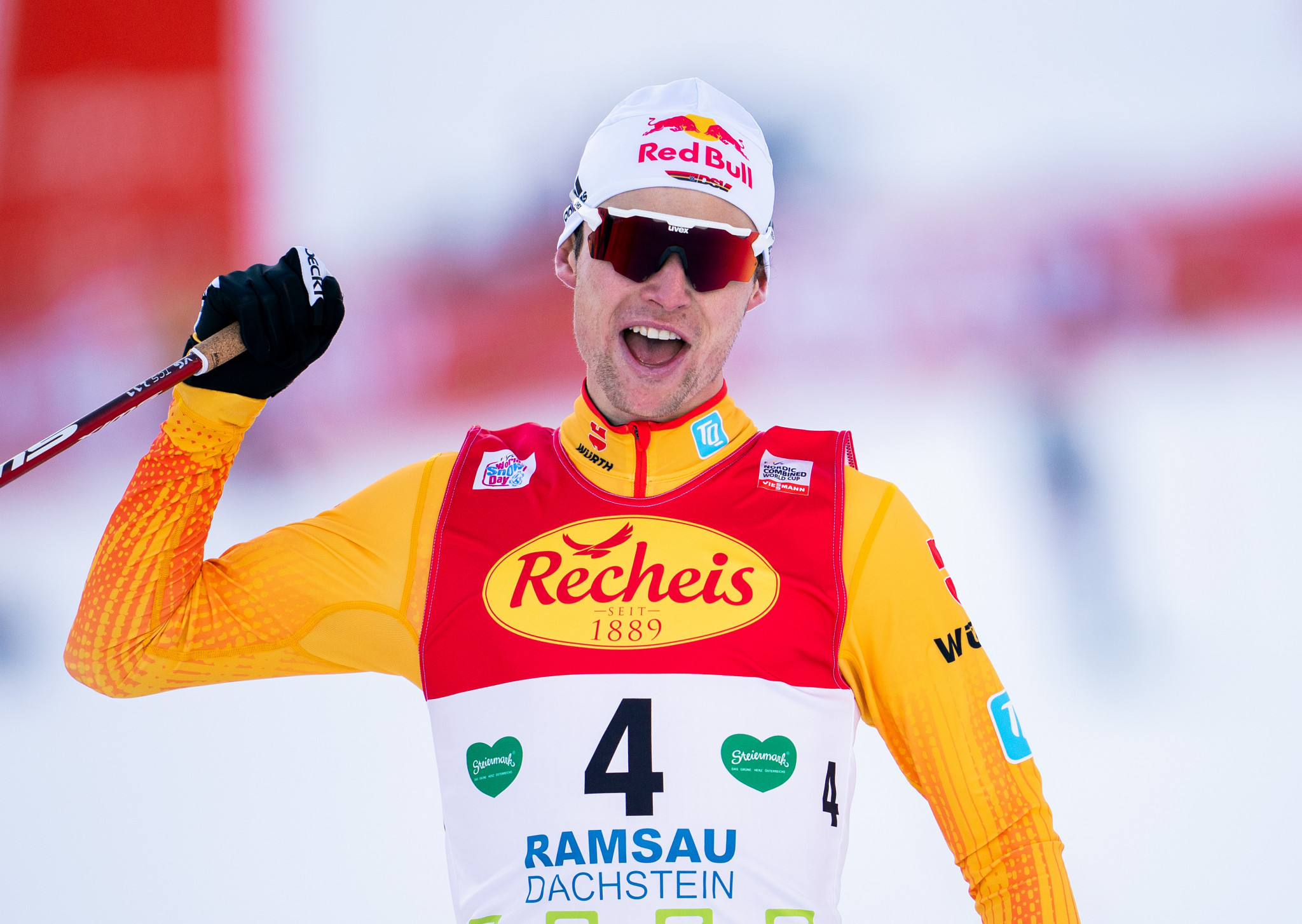 Geiger beats Riiber in sprint finish at FIS Nordic Combined World Cup in Ramsau