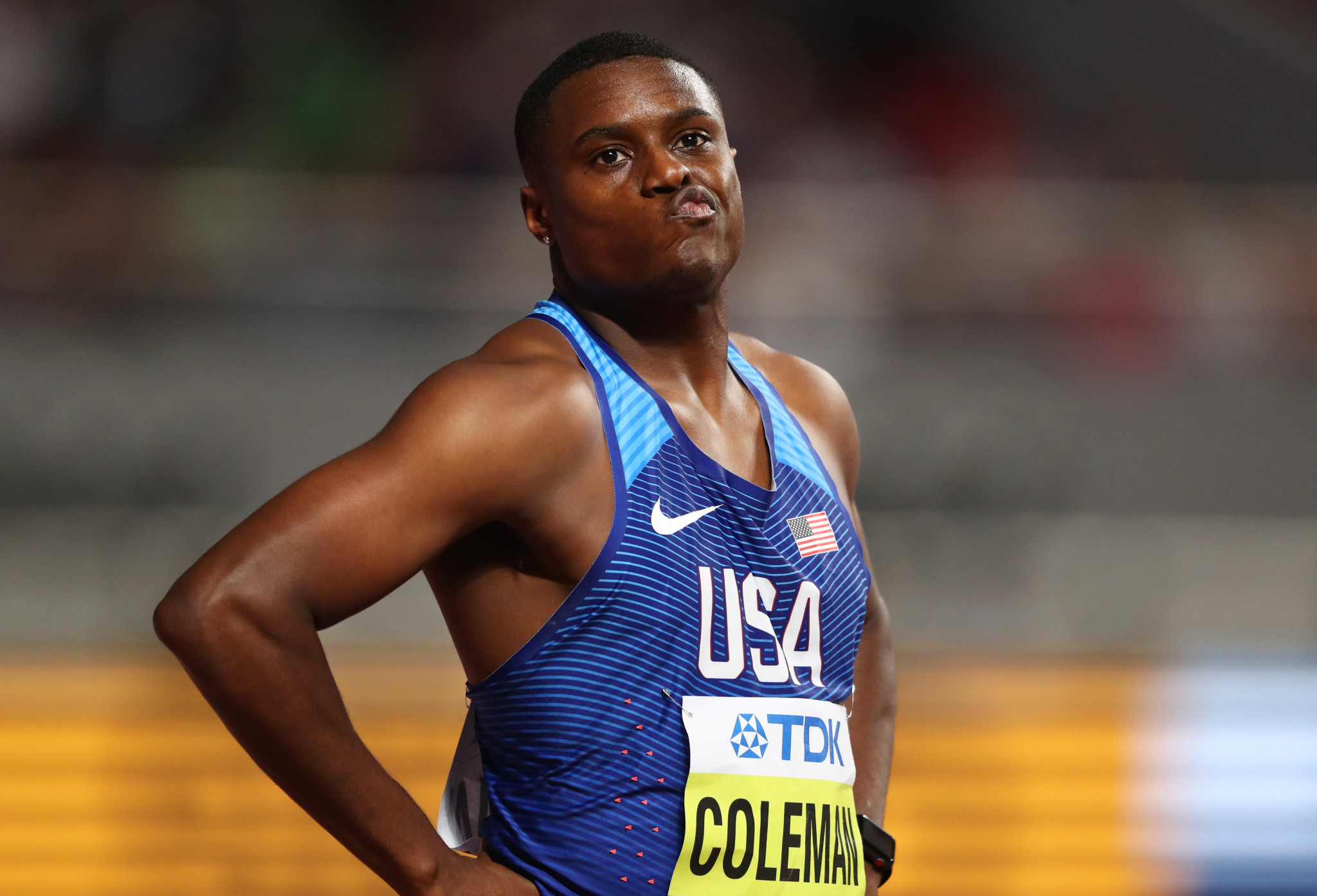 Christian Coleman, the reigning men's 100m world champion, was given a two-year doping ban in this disappointing year for athletics ©Getty Images
