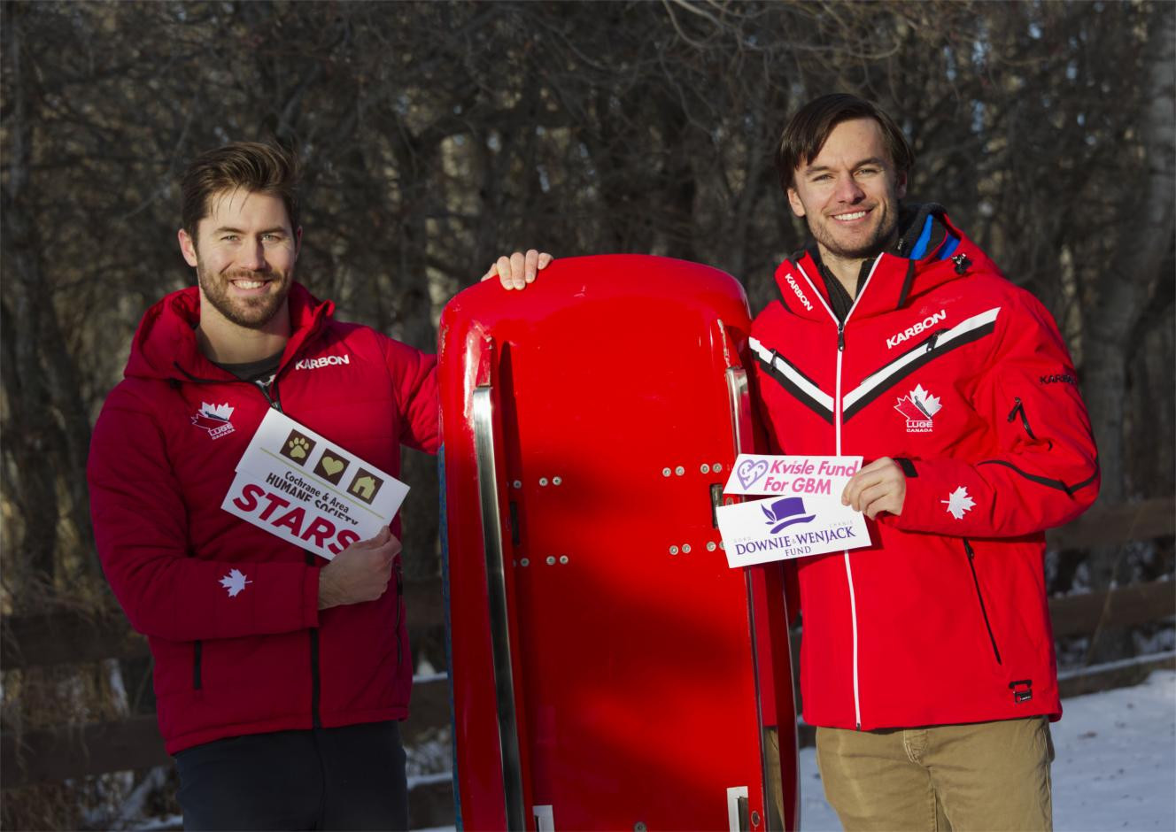 Lugers Tristan Walker and Justin Snith will back charities in races next year ©Luge Canada