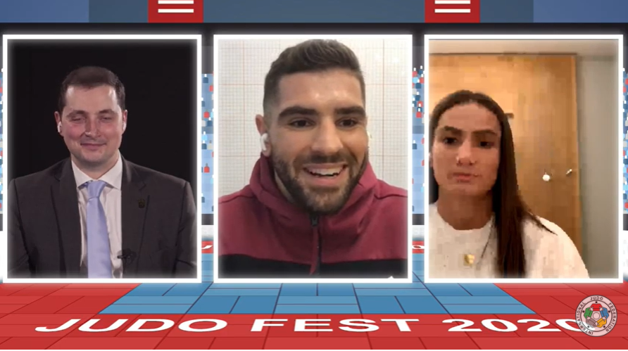Double Olympic champion Teddy Riner offered  advice during today's IJF JudoFest to Israel's European under-100kg champion Peter Paltchik, centre, and Kosovo's Majlinda Kelmendi, right, who hopes to defend her under-52kg title in Tokyo next summer ©IJF