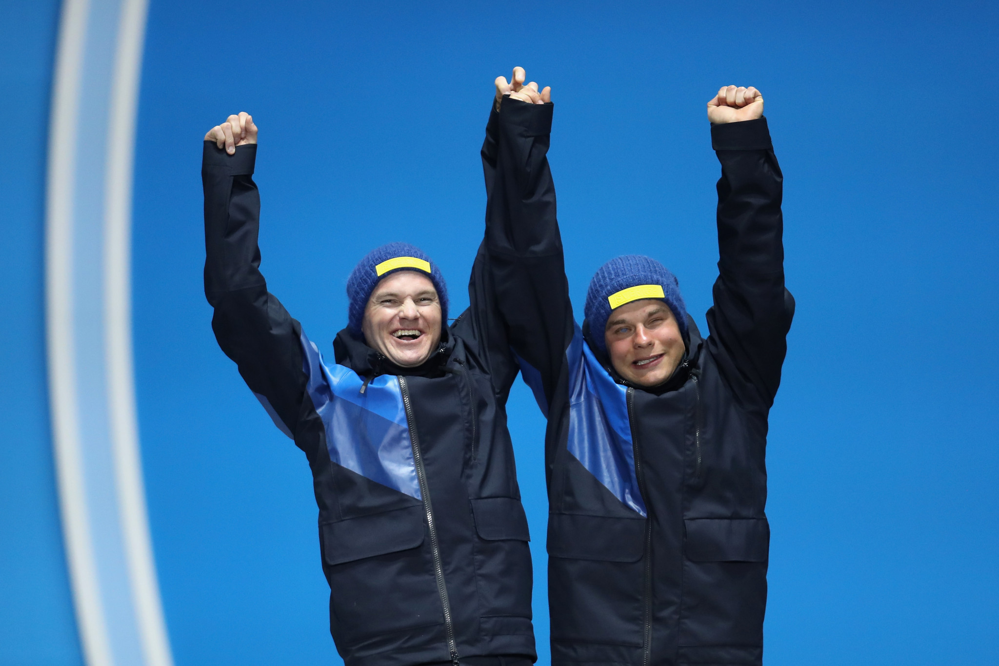Robin Bryntesson, left, was Zebastian Modin's guide when he won a silver medal at Pyeongchang 2018 ©Getty Images
