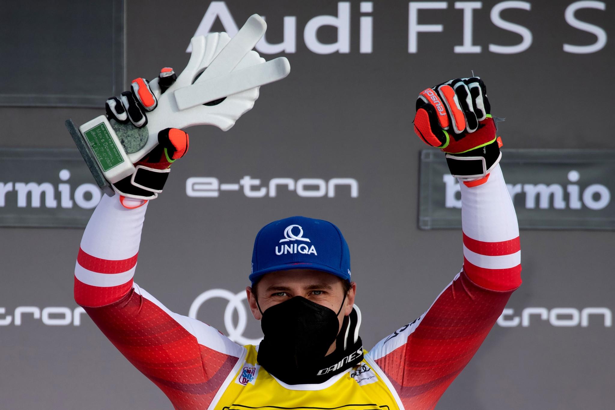 Mayer takes narrow win in men's Alpine Ski World Cup downhill in Bormio