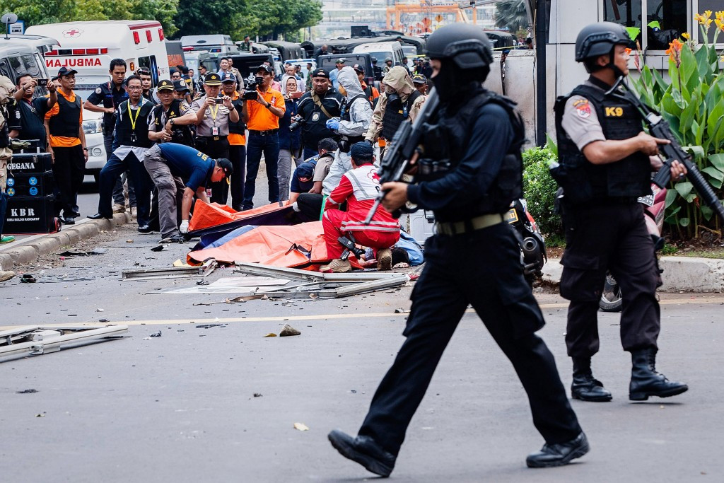 Attacks have left at least six people dead in Jakarta