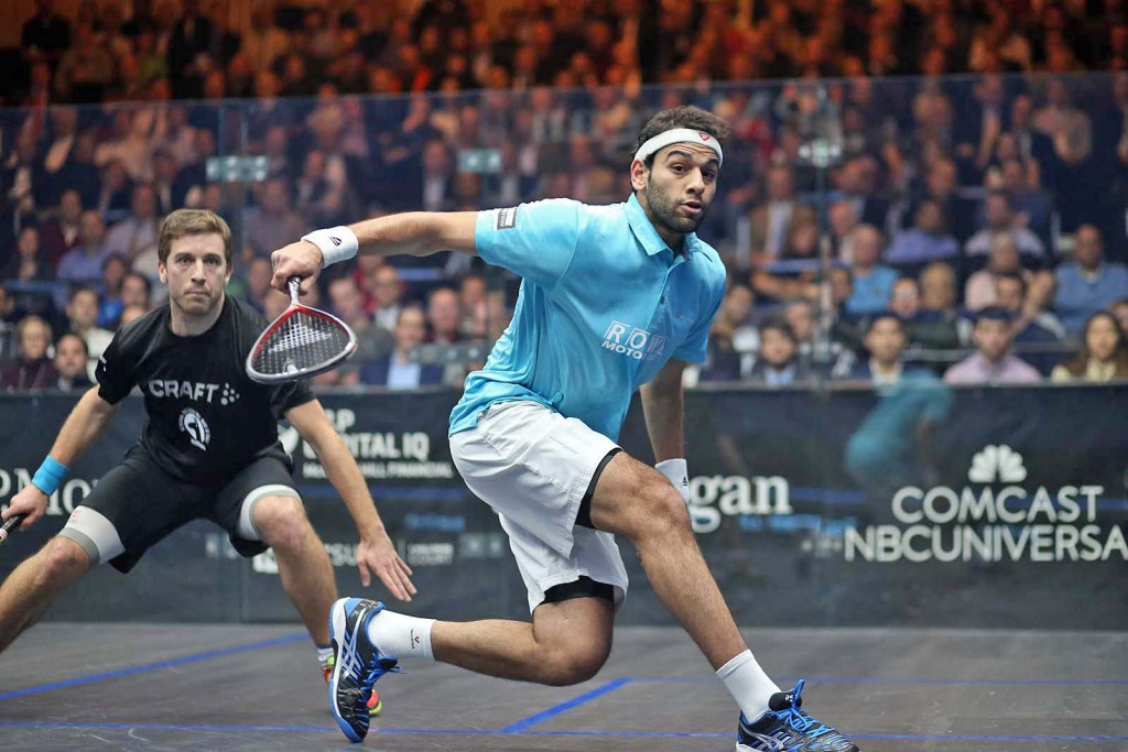Title holder Mohamed Elshorbagy moved through to the final of the men's J.P. Morgan Tournament of Champions after a commanding victory over France's Mathieu Castagnet ©www.squashpics.com