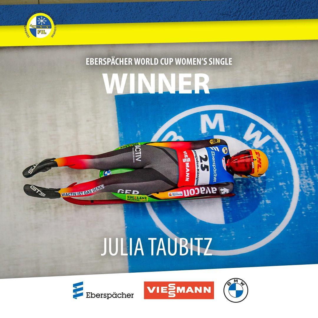 Taubitz wins women's FIL Luge World Cup race as Austria bag team relay gold