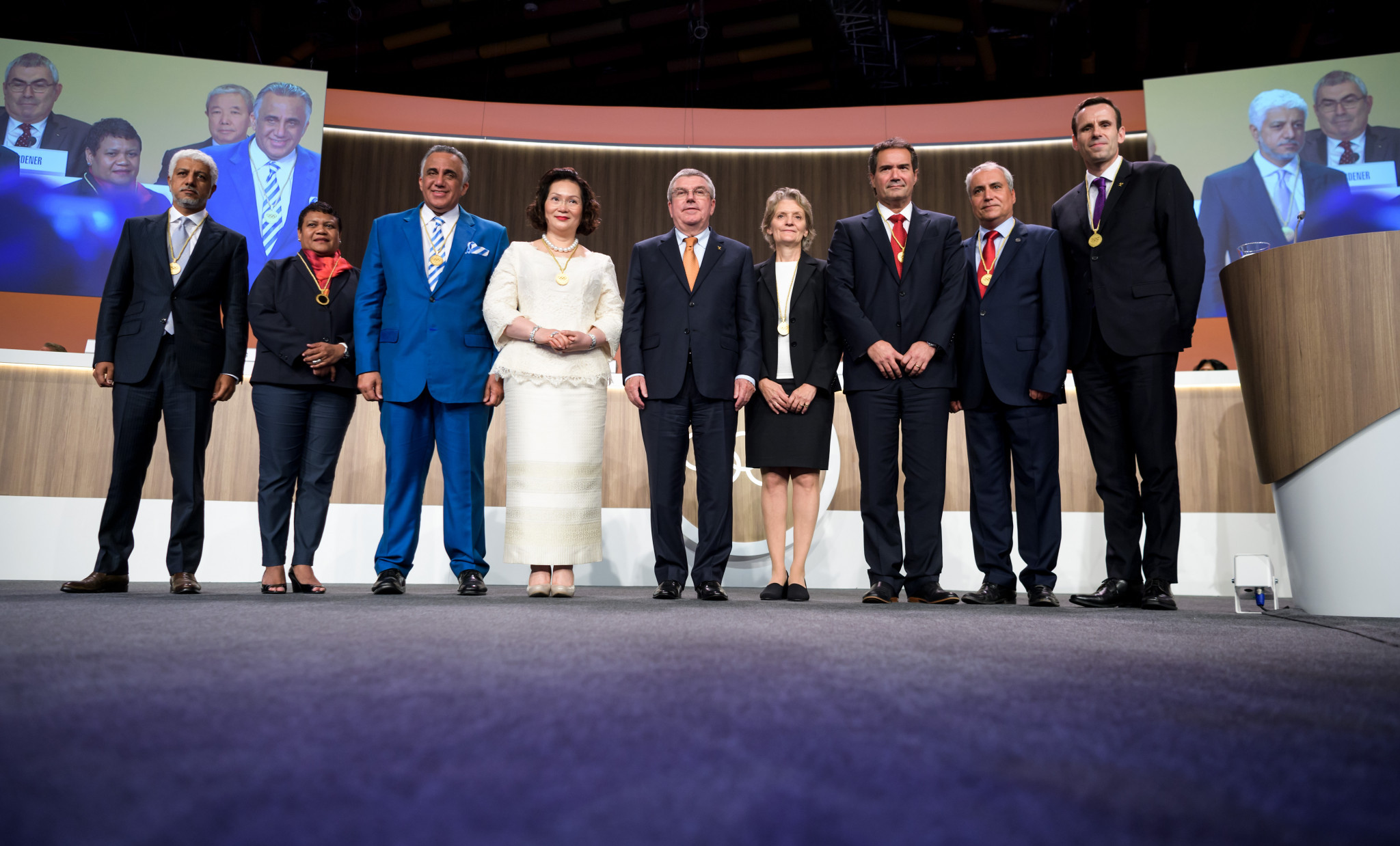 Luis Mejía Oviedo, third from left, became an International Olympic Committee member in 2017 ©Getty Images