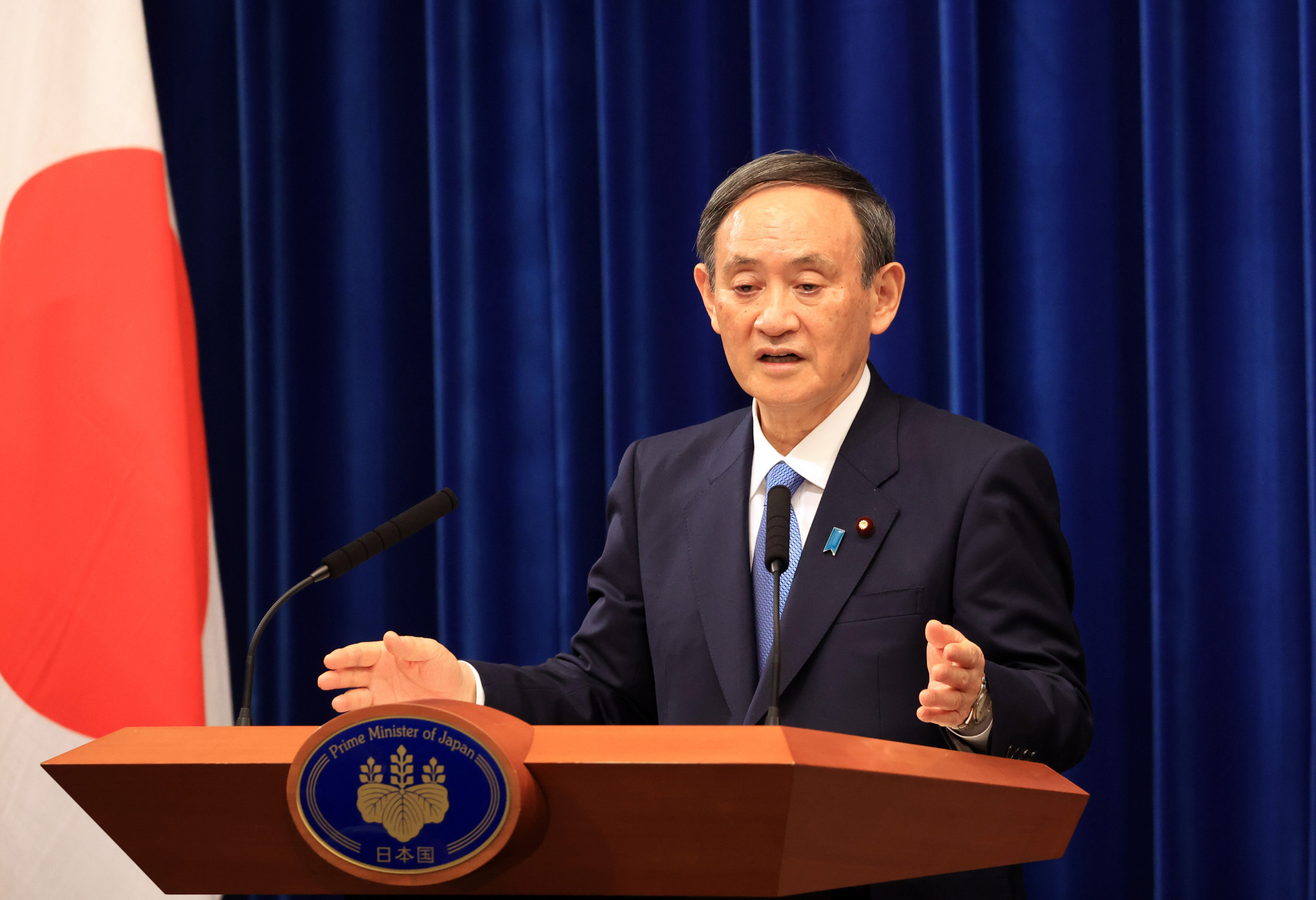 Japan's Prime Minister Yoshihide Suga is expected to announce a state of emergency in several areas tomorrow ©Getty Images