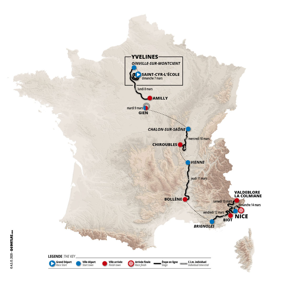 Organisers confirm route and teams for 2021 Paris-Nice