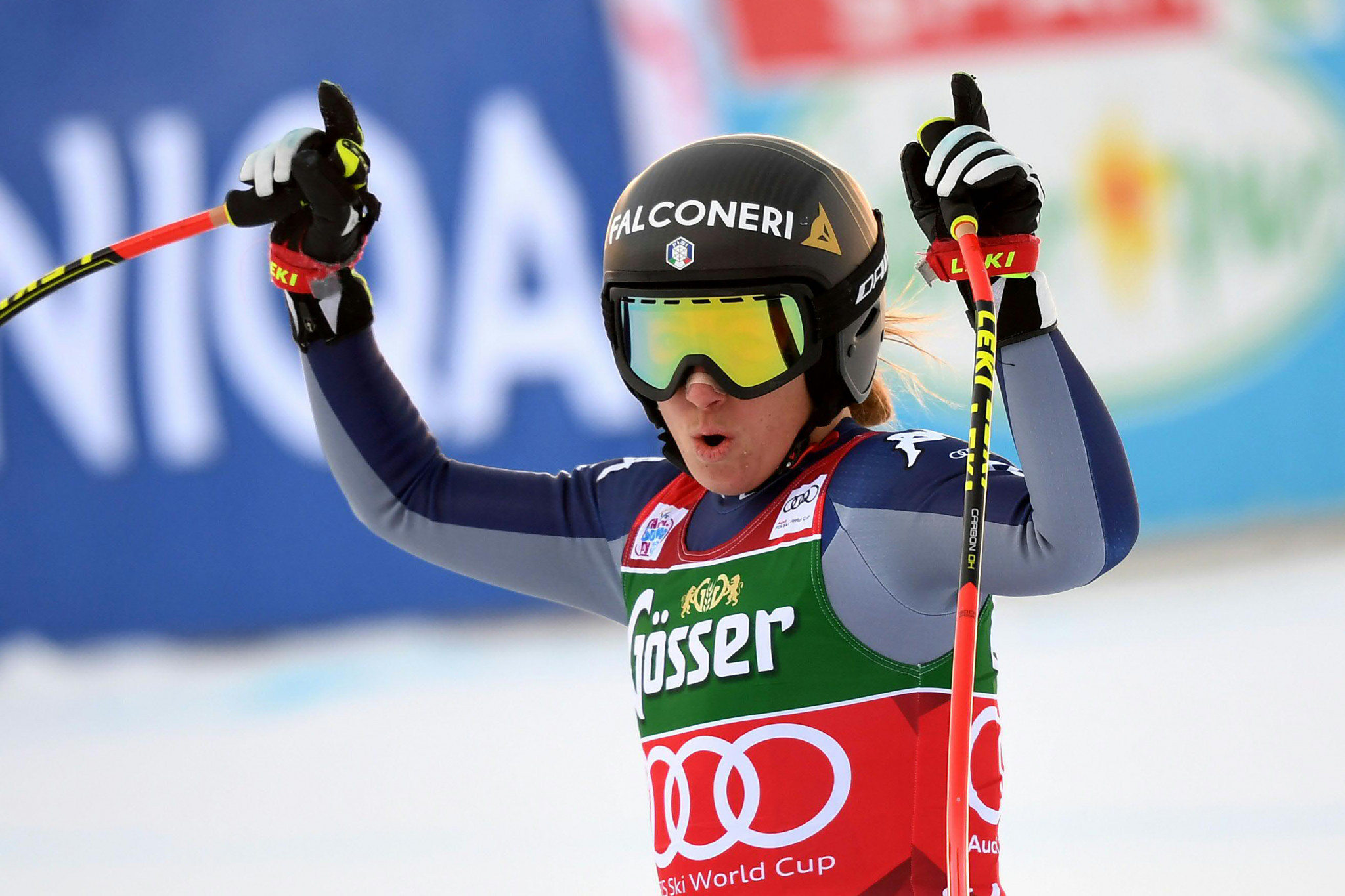 Sofia Goggia's three Alpine Ski World Cup podium finishes this season have all been in downhill races ©Getty Images