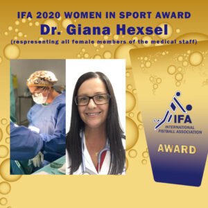IFA Medical Commission chair Giana Hexsel was honoured as a representative of all female members of medical and nursing staff ©IFA
