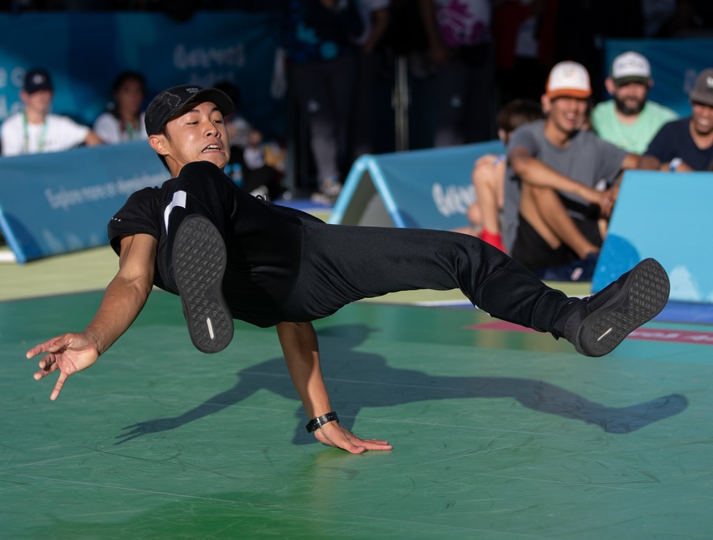 Japanese b-boy Shigekix, pictured during the Beijing 2018 Youth Olympics where he won bronze, could be a major medal contender at the Paris 2024 Games ©OIS