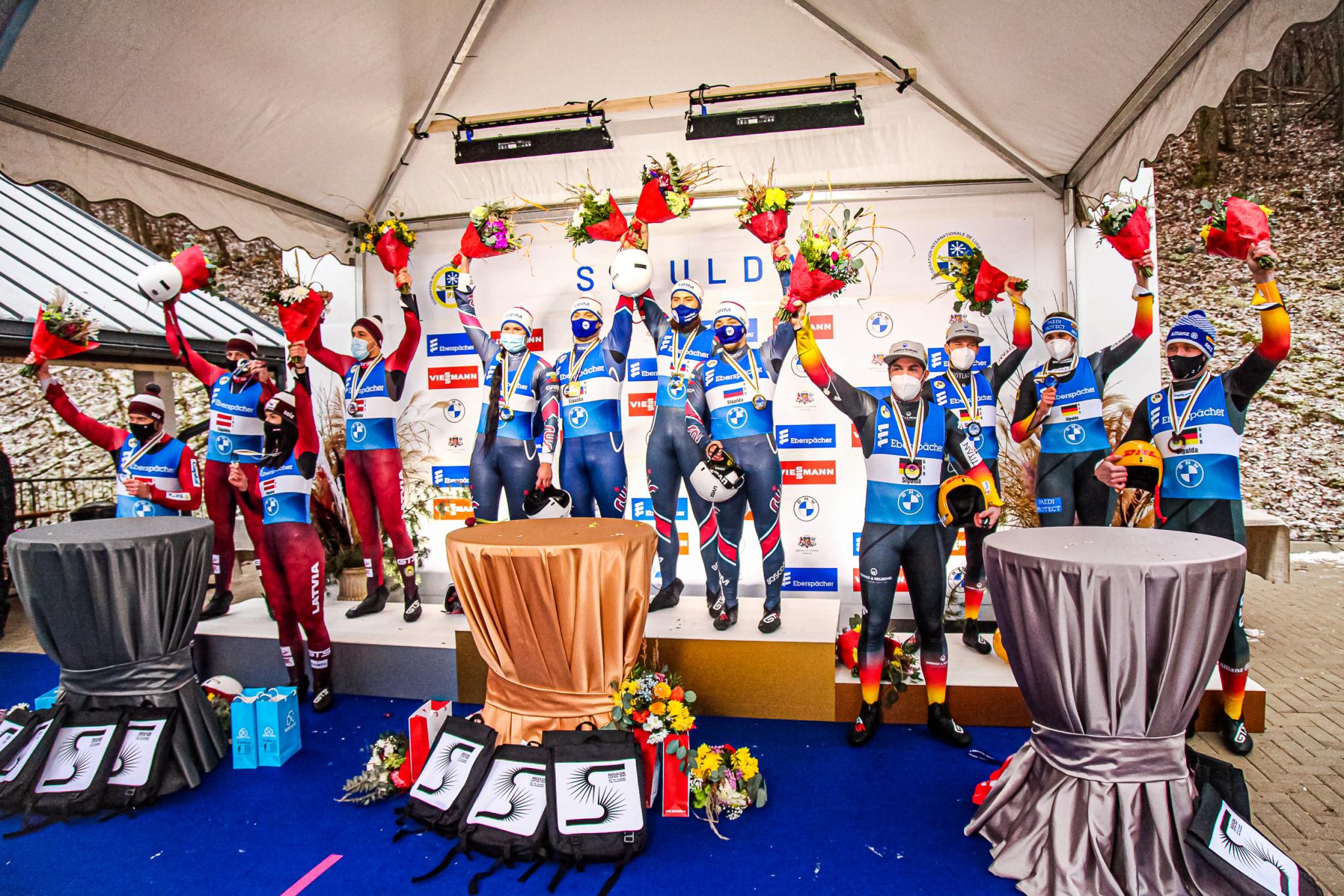 Russia took the team relay European title in Sigulda ©FIL