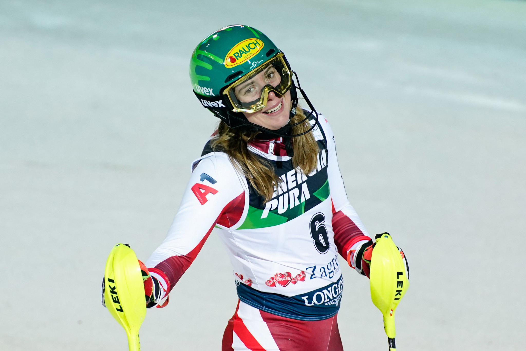 Katharina Liensberger is still searching for her first World Cup win in a consistent slalom season so far ©Getty Images