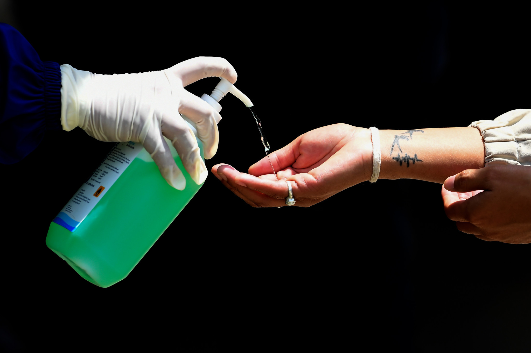 Hand sanitiser is among the items distributed to at-need families by the Cape Verde Olympic Committee ©Getty Images