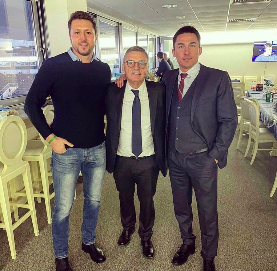 IIHF President René Fasel (centre) has been criticised after being pictured with Belarusian Ice Hockey Association President Dmitry Baskov (right) ©Twitter