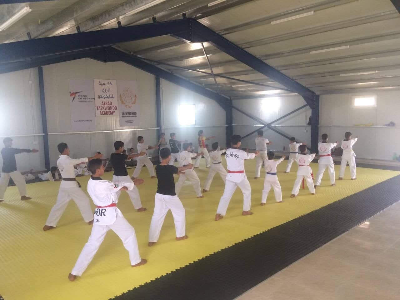 A Taekwondo Humanitarion Foundation academy teaches young refugees the sport at Azraq refugee camp ©THF