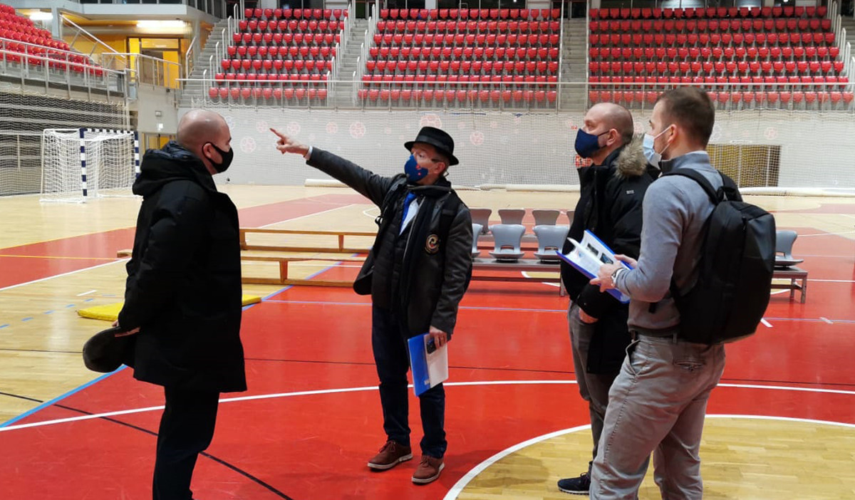 The competition venue and training halls were among the areas visited by the EKF delegation ©WKF