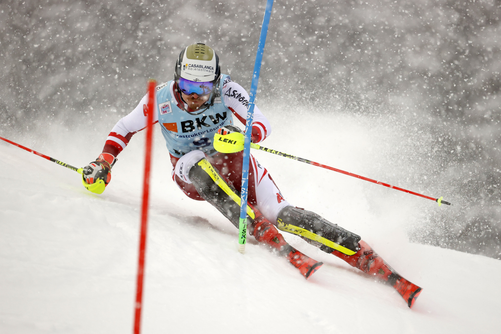 Manuel Feller leads the men's slalom standings following his victory ©Getty Images