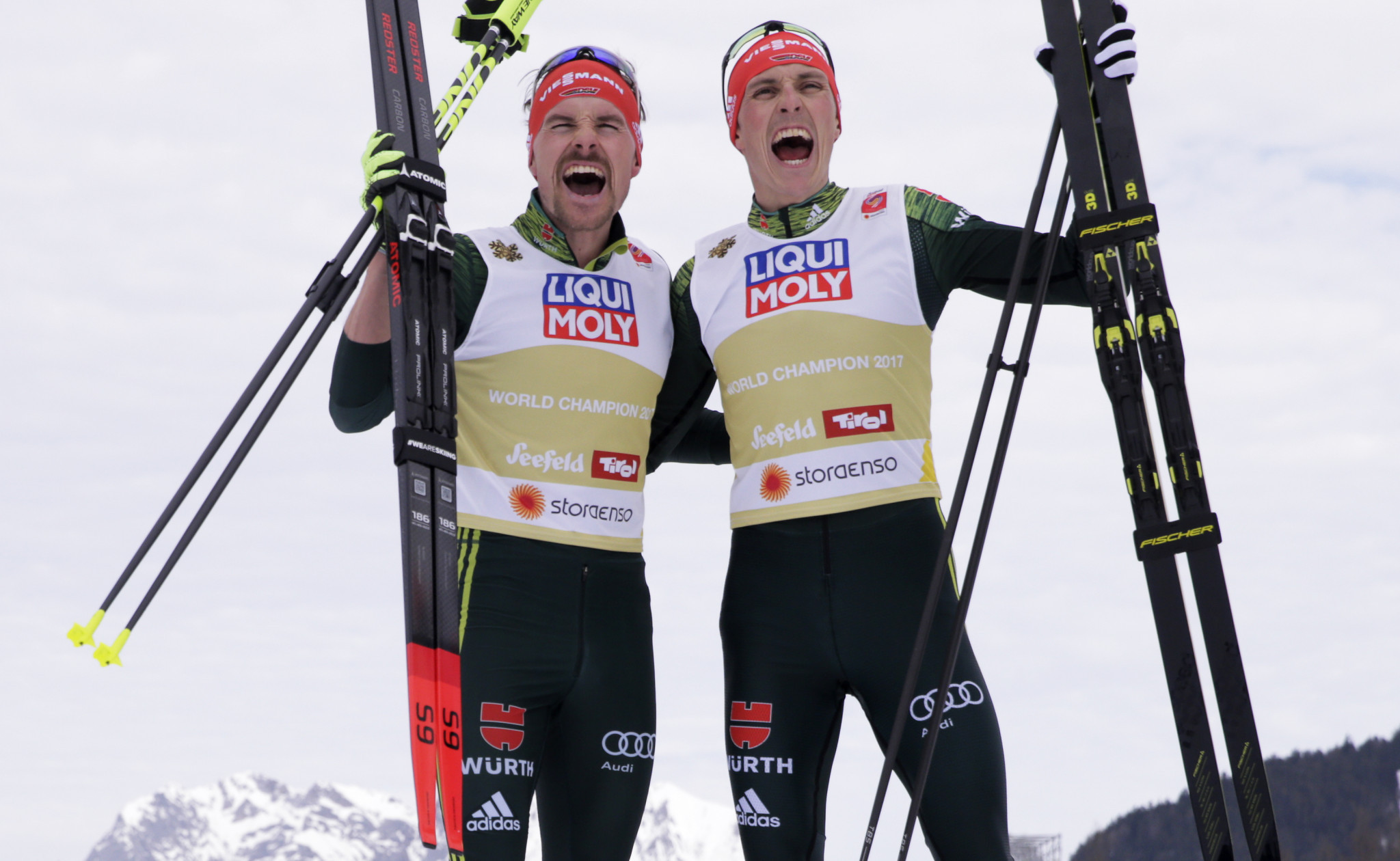 Eric Frenzel and Fabian Rießle claimed victory in the team sprint in Val di Fiemme ©Getty Images