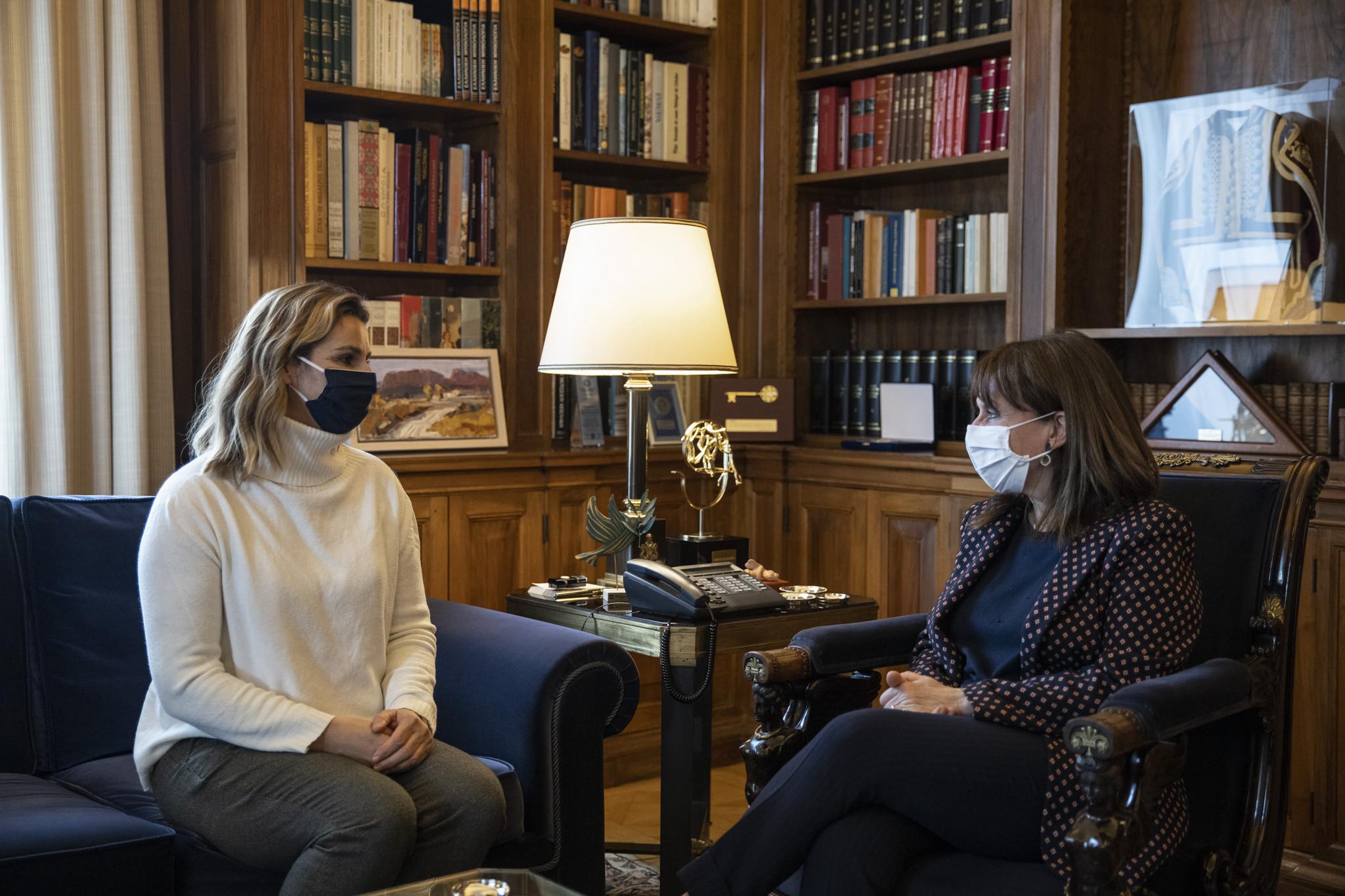Sofia Bekatorou met Greek President Katerina Sakellaropoulou yesterday ©Getty Images