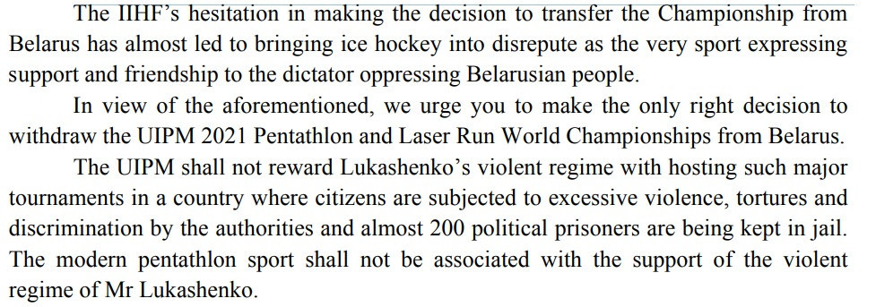 The BSSF called on the UIPM to strip Belarus of the World Championships in a letter to the governing body ©BSSF