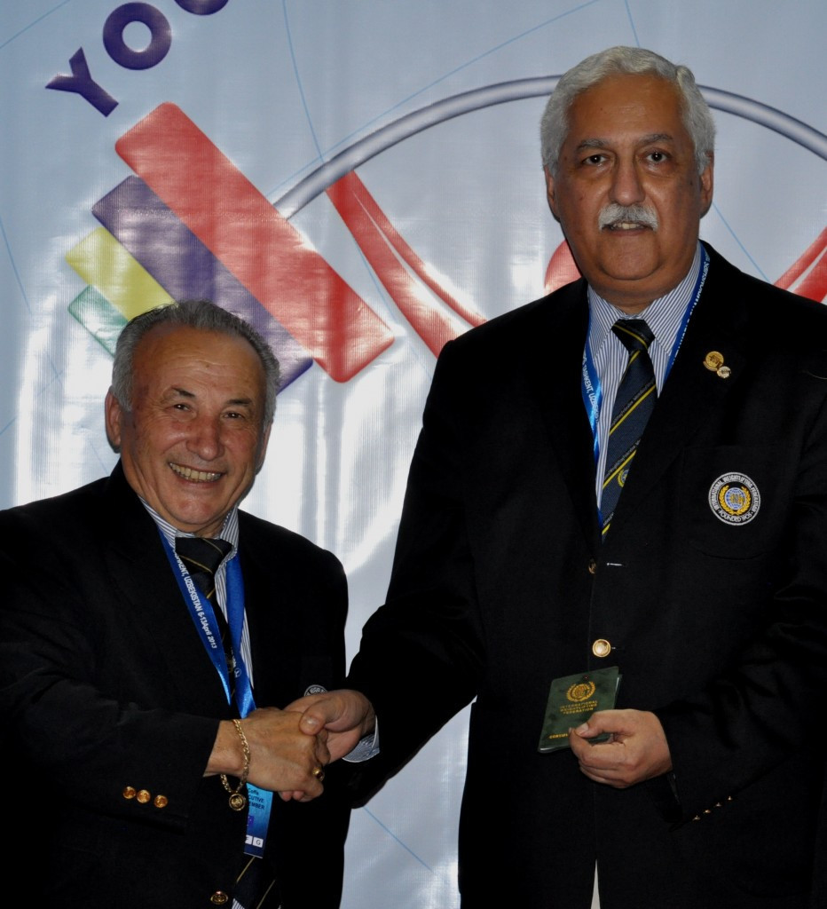 IWF Interim President Mike Irani, right, promised a complete revision of the body's constitution ©IWF