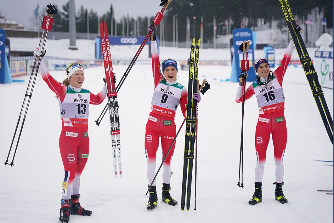 Norway enjoy clean sweep of skiathlon Cross-Country World Cup medals in Lahti