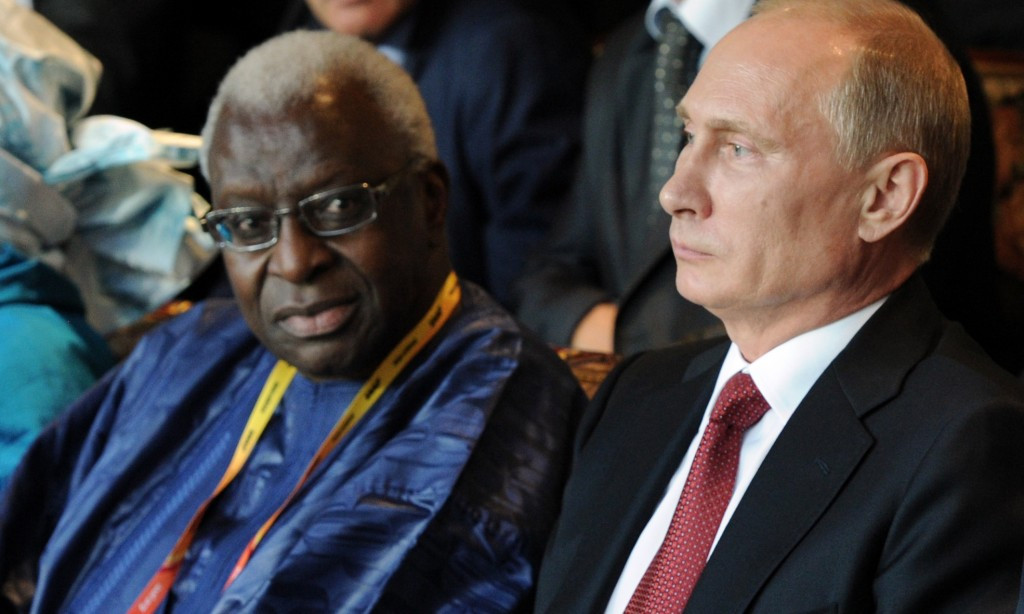 IAAF President Lamine Diack claimed it would be hard for them to ban several Russian athletes on the eve of the 2013 World Championships in Russia because of his close links with the country's leader Vladimir Putin ©Getty Images